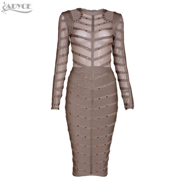 2017 Women winter Bodycon party Dress Olive Mesh Black Gray Red Knee-length Celebrity Long sleeve  Bandage Dress Wholesale - Monika's Dresses