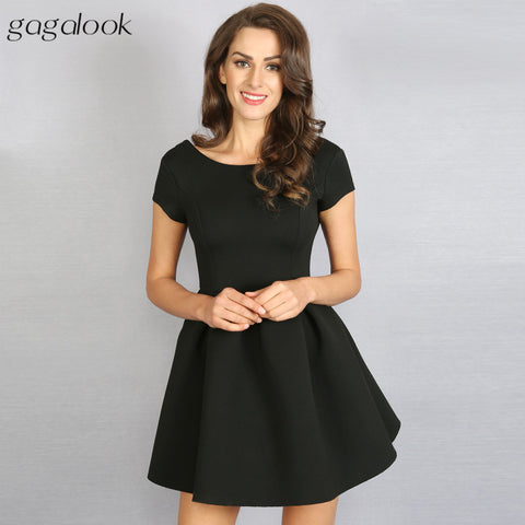 Gagalook 2016 Brand Women Party Dresses Robe Sexy Vintage Skater Black Red Gray Mini Backless Back Lace Up Dress Vestidos D0391 - Monika's Dresses