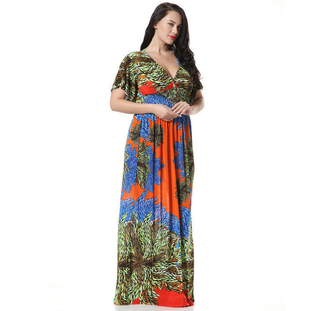 2017 Womens Summer Elegant Print Beach Dress For Vacation Bohemian Maxi Long Dresses Plus Size 6XL 7XL Vestidos 3004 - Monika's Dresses