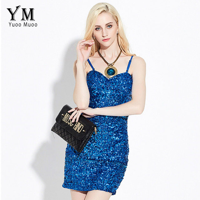 YuooMuoo Evening Club Party Elegant Sequin Dress Women Sexy V-neck