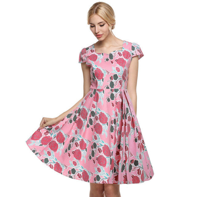 ACEVOG 2017 Vestidos 1950's Vintage Style Women Elegant Cap Sleeve Floral Spring Garden Party Picnic Cocktail Swing Tea Dress - Monika's Dresses