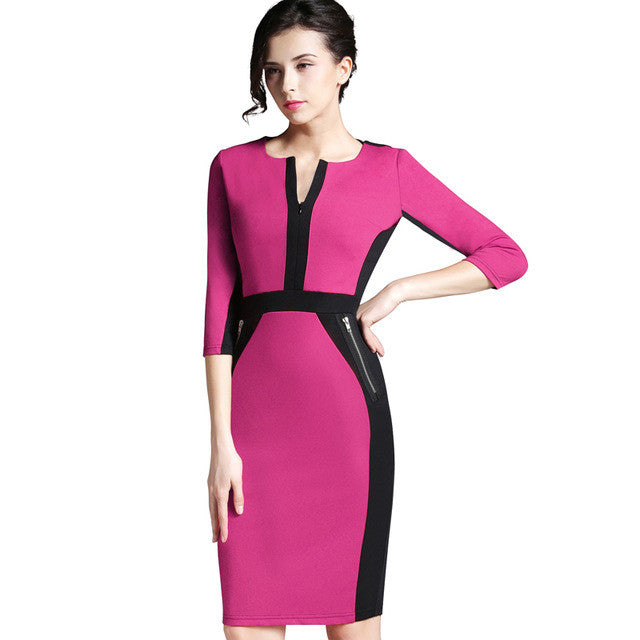 Nice-forever Office Women Zipper special New Arrival Plus Size fashion patchwork V neck formal work bodycon Midi dress 837 - Monika's Dresses