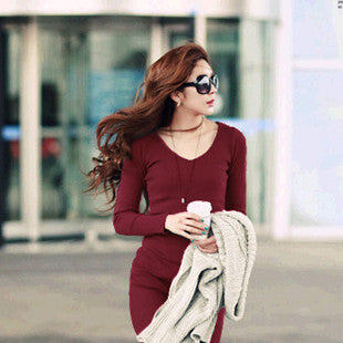 New 2015 Robe Plus Size Women Autumn Winter Dress Fashion Casual O-neck Knitting Dresses Long-Sleeve Long-Length Dress - Monika's Dresses