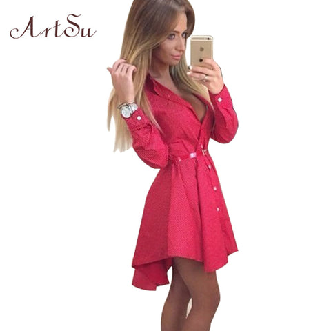 ArtSu New 2017 Preppy Style Women Summer Dress Sexy 3/4 Sleeve Red Plaid Print Office Shirt Cardigan Dresses Work Wear DR5985 - Monika's Dresses