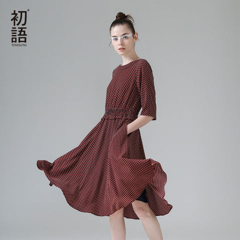 Toyouth Dress 2017 Spring New Women Half Sleeve A-Line Lady Vintga Dot Printed O-Neck Long Dresses - Monika's Dresses