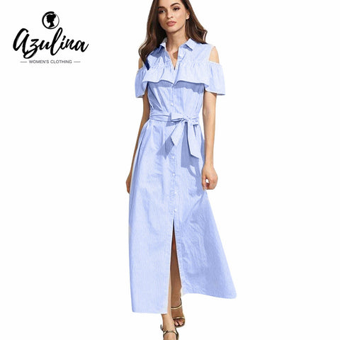 AZULINA Casual Maxi Blue Striped Shirt Dress Women 2017 Spring Summer Beach Long Dress Vestidos Lotus Sleeveless Sundress - Monika's Dresses