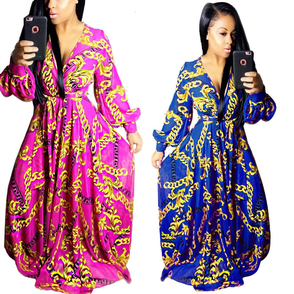 2017 sexy summer maxi long dress african clothing bazin riche robe golden chain print vestidos mujer loose sparkly dashiki dress - Monika's Dresses