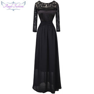 Angel-Fashions 3/4 Sleeves Lace Round Neck Pleat Criss-Cross Long Bridesmaid Dress Blue Black robe de soiree 013 - Monika's Dresses