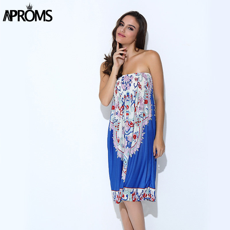 Aproms Boho Summer Women Dress Sexy Sundresses Off Shoulder African Ethnic Floral Print Tunic Beach Dresses Big Size SunDress - Monika's Dresses