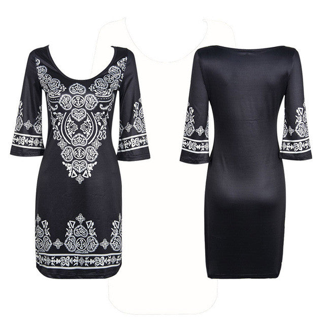 Aproms Boho Black Bodycon Dress Women Autumn Casual African Ethnic Print Dresses Big Size Loose Evening Party Dress 10846 - Monika's Dresses