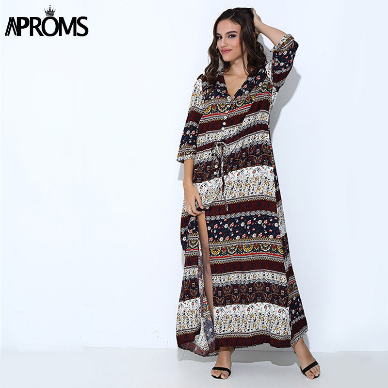 3XL Boho Ethnic Summer Long Maxi Dress Women Sexy V-Neck Sundress Ladies Half Sleeve Loose Beach Dresses Big Size Vestidos - Monika's Dresses