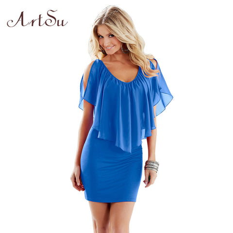 ArtSu Summer Sexy Club Party Dresses Women Clothing 2017 New Style Blue Round Neck Sleeveless Ruffle Chiffon Short Dress DR50128
