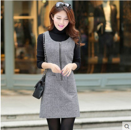 1a4b5f72c2 Autumn and winter dress women sleeveless pullover woolen vest casual  dresses houndstooth one-piece dress