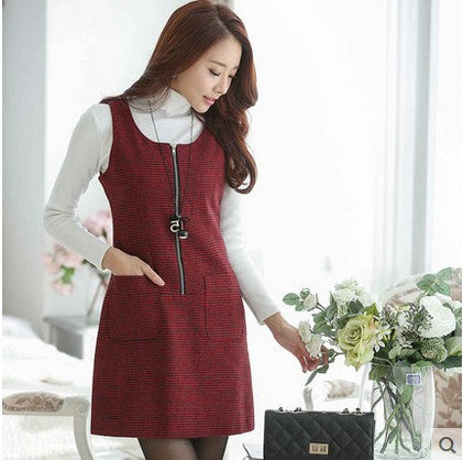 Autumn and winter dress women sleeveless pullover woolen vest casual dresses houndstooth one-piece dress free shipping - Monika's Dresses