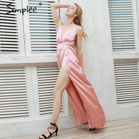 Simplee Slip satin backless sexy long dress Women pajamas summer dress evening Party elegant black maxi dresses vestidos - Monika's Dresses