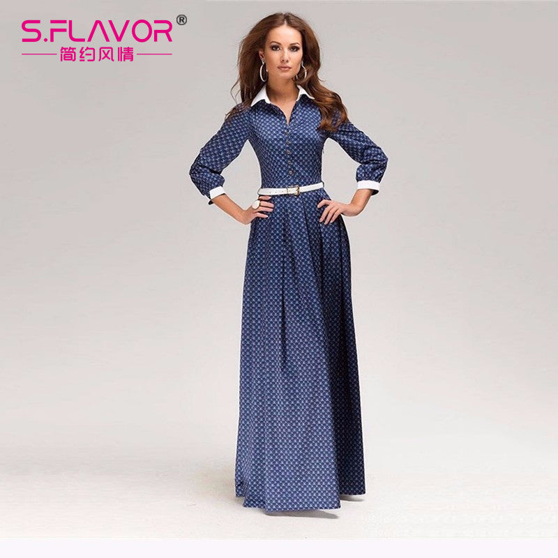 Women maxi size long dress 2017 New fashion Women Spring Summer vestidos Long Sleeve Elegant Dress for female (without belt) - Monika's Dresses
