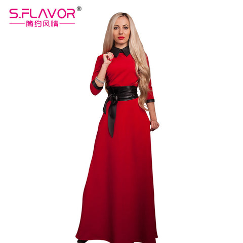S.FLAVOR Brand women long dress Spriing Summer fashion slim vintage style turn-down collar vestidos with belt solid color - Monika's Dresses