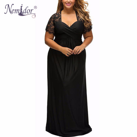 Nemidor 2017 Women Sexy V-neck Short Sleeve Long Maxi Dress Casual Plus Size Vintage Party Lace Dress