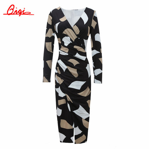 Qiqi Korean 2016 Autumn Retro Print Sexy Dress Women Business V-neck Office Work Tunic Bodycon Sheath Casual Pencil Dresses - Monika's Dresses
