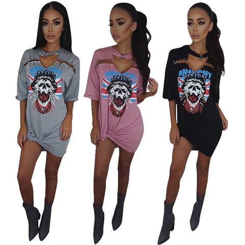 T-shirt dresses womens half sleeves deep v-neck Skull printed above knee dress for summer women's novelty cheap clothing VD5010