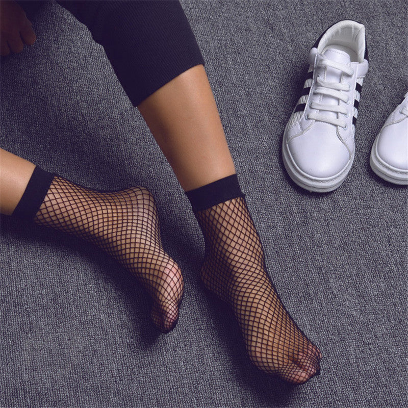 Punk Women Girls Sexy Black Hollow Out Breathable Mesh Fishnet Socks