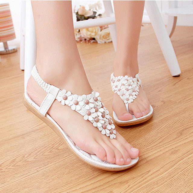 2017 Summer Gladiator Sandals Woman Shoes Bohemia Thong Flat Flower