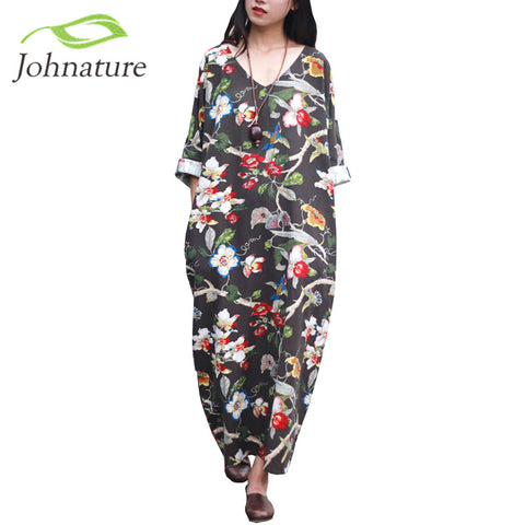 Johnature Floral Flower Pint V-neck Cotton Linen Vintage Dress Three Quarter Sleeve Women Plus Size Loose 2017 New Spring Robe - Monika's Dresses