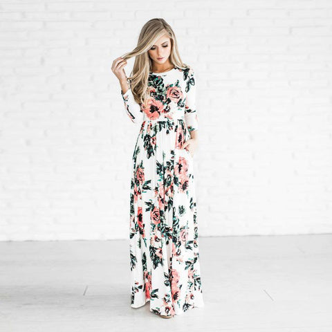 Summer dress 2017 women printed long Boho Beach o-neck Three Quarter sleeve empire flower Floor-length maxi dress - Monika's Dresses