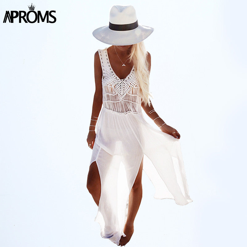 Aproms 2017 Boho Style Women Summer Dress Casual V-Neck Sleeveless Lace Hollow Out Patchwork Beach Chiffon Dresses Robe 10718 - Monika's Dresses