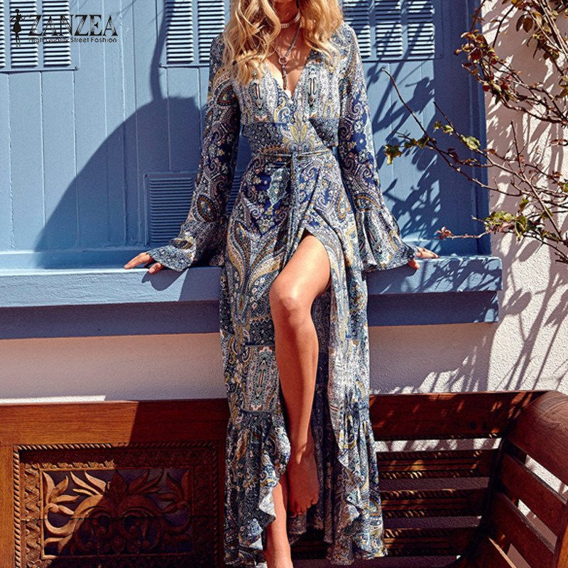 ZANZEA Boho Women Maxi Long Dress 2017 Vintage Pattern Print Flare Sleeve Trumpet Dresses Sexy V-Neck Vestidos Plus Size S-4XL - Monika's Dresses