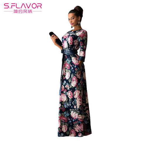 women summer dress 2017 New Fashion Print Maxi Dress Women Casual Elegant High Quality Floral Long Dresses without pockets - Monika's Dresses