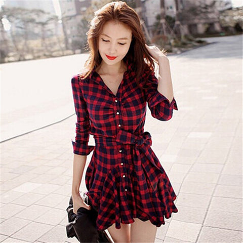 Women Retro Long Sleeve Dress Red Plaid Lapel Shirt Mini Belted Casual Dresses 2017 - Monika's Dresses