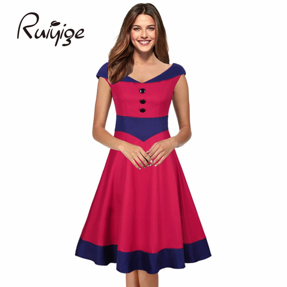 2017 RUIYIGE New Arrival Women Vintage Plus size V-neck elegant formal office Evening Party Sexy Dress vestidos elbise Robe W516 - Monika's Dresses