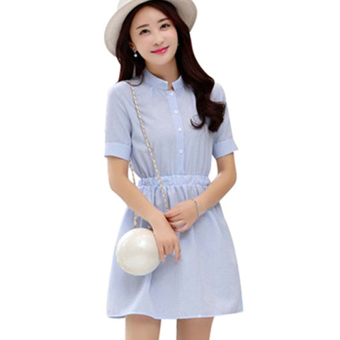 Shirt Dress Women Summer Dress 2017 Fashion Korean Female Short Sleeve White And Blue Striped Linen Casual Dresses For Ladies - Monika's Dresses