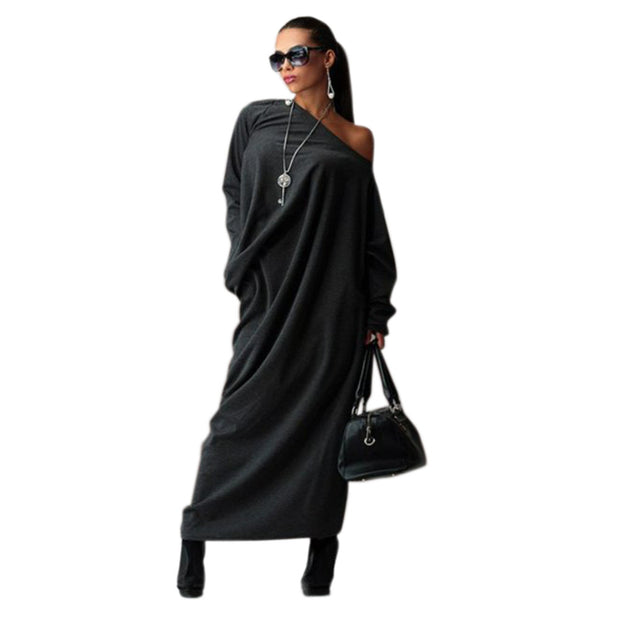 Preself Casual Loose Knit Maxi Off-Shoulder Wrap Dress Vestidos Oversized Long Sleeve Dresses Plus Size Autumn Winter No Bag - Monika's Dresses