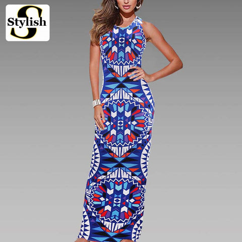 Maxi Dress Summer Bohemian Boho Dress 2017 New Fashion Sexy Sleeveless Print Bandage Tank Long Dresses For Women Clothing - Monika's Dresses