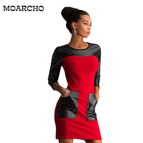 MOARCHO 2017 New Women Casual Patchwork Dress Fashion Popular Three Quarter Sleeve O-Neck Loose Spring Autumn Dresses Plus Size