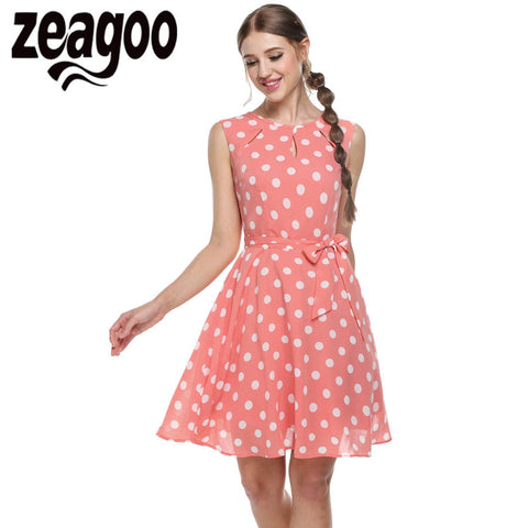 Zeagoo 2017 sexy vestido summer dress dot print chiffon elegant casual bow dress White, Pink, Blue, Black XXL - Monika's Dresses