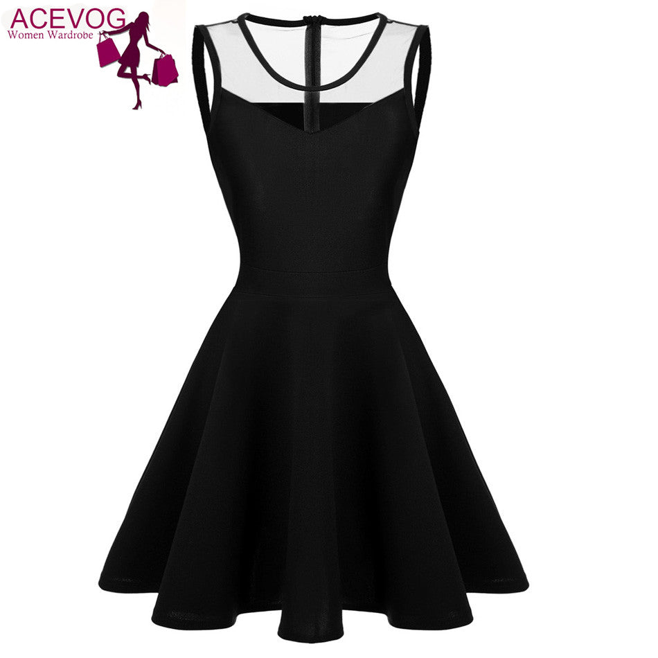 Acevog Women Elegant Dresses Summer Vestidos 2017 Lady Mesh High Waist Pleated Dress Casual Knee Length Swing Dress 4 Colors - Monika's Dresses