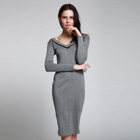 Autumn Winter New Knit Deep V Neck Sexy Long Sleeve Knee-Length Knit Sweater Dresses Women Bodycon Striped Elegant Midi Dress - Monika's Dresses