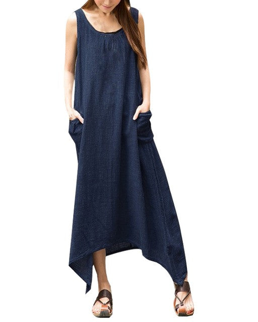 2017 Summer ZANZEA Women Casual Loose Sleeveless Long Dress Vintage Pockets Cotton Irregular Maxi Dresses Plus Size Vestidos - Monika's Dresses