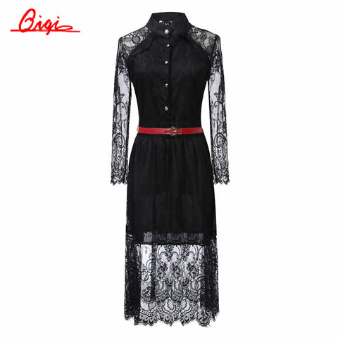 Sale black /white lace stitching Hollow out summer dress 2015 fashion plus size vestidos elegant evening party Casual Dresses - Monika's Dresses
