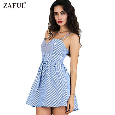 ZAFUL Fashion 2017 Blue Striped Black Women Summer Dress Sexy Backless bohemian Casual Beach Feminino Vestidos Vintage Sundress - Monika's Dresses