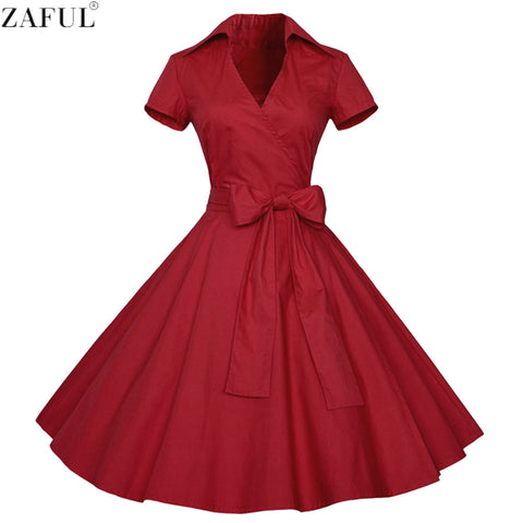 ZAFUL Women Rockabilly Dress Retro PinUp Hepburn V-neck Bow Ball Gown Tunic Swing Woman Dresses Female Vestidos 50s 60s Belt - Monika's Dresses