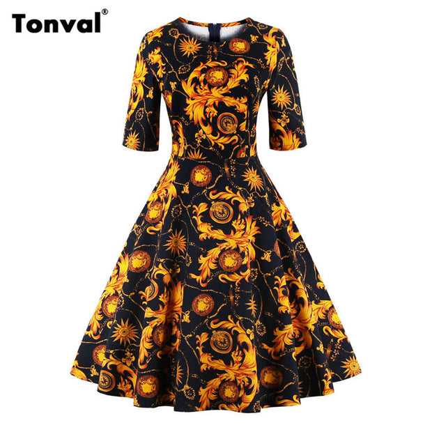Tonval Half Sleeve Vintage Tunic Dress Women Gorgeous Floral Retro Audrey Hepburn Style Plus Size Summer Swing Dresses - Monika's Dresses