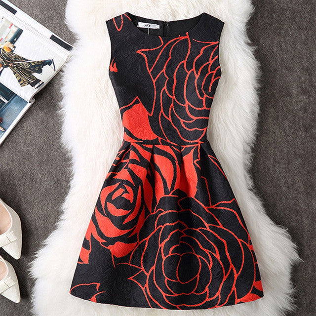 21 Styles Summer Dress 2017 New Women O-Neck Sleeveless Printed Mini Casual Dress Evening Party Dresses for women Robe Femme - Monika's Dresses