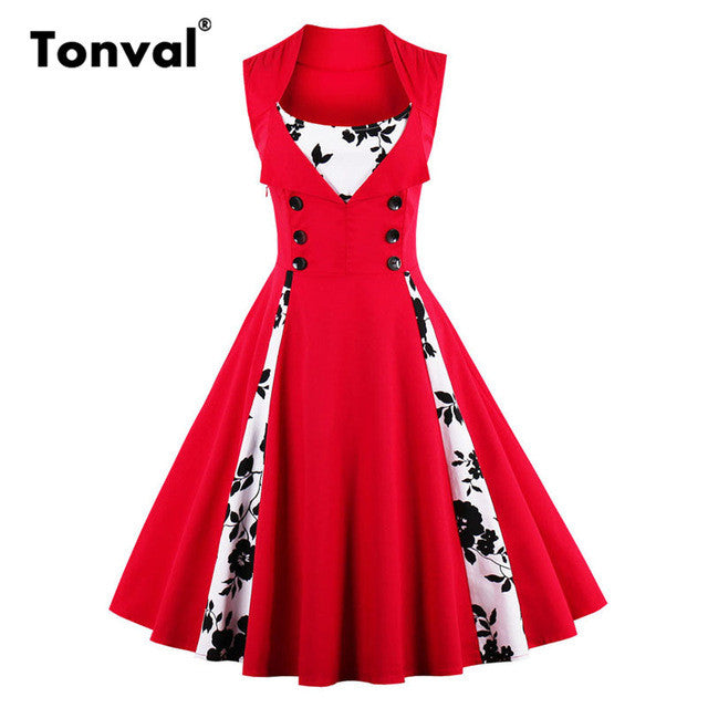Tonval 2017 Summer Women Polka Dot Sleeveless Dress Vintage Style Dresses Buttons Elegant Red Plus Size 4XL 5XL Swing Dress - Monika's Dresses