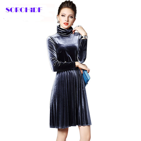 SORCHIDF Women New Sexy Velvet Mandarin Collar Vintage Elegant Dress Pleated Dress Party Dress - Monika's Dresses