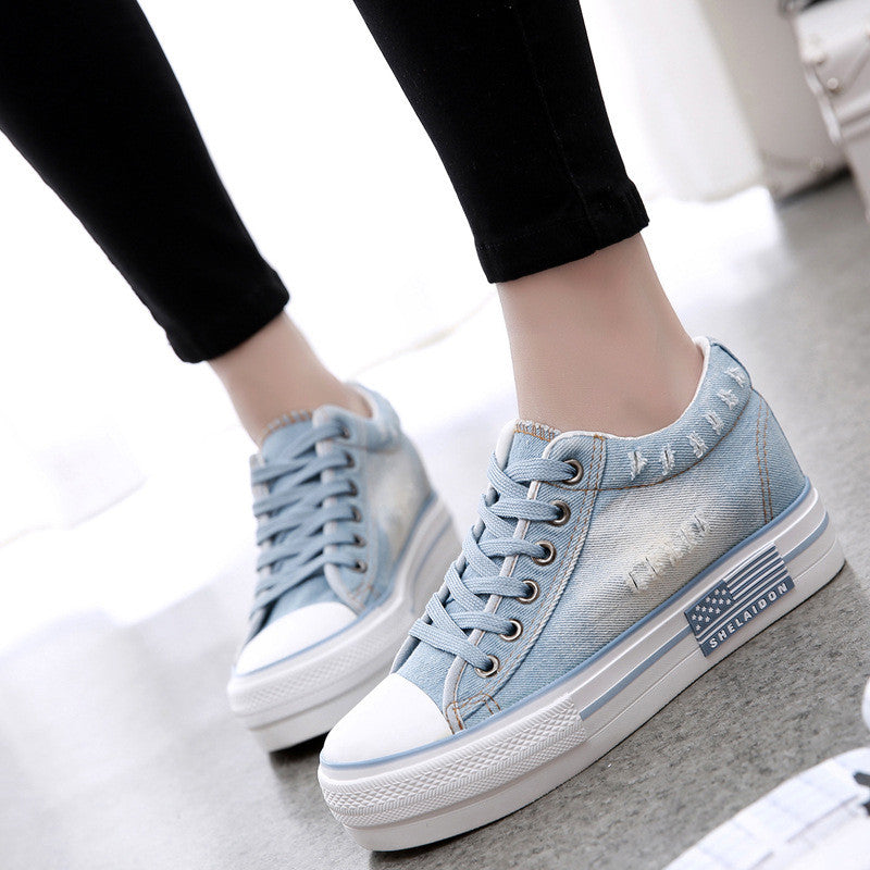 2017 Summer New Casual Canvas Jeans Flat Shoes Women Platform Slip