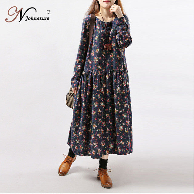 Johnature Women Print Floral Dress 2017 Spring New Korean Fashion Plus Size Women Long Sleeve Casual O-Neck Mori Girl Dress - Monika's Dresses